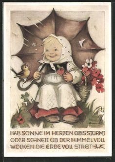 tolle Künstler-AK Hummel: Hab Sonne im Herzen..., Mädchen mit Regenschirm in Sammeln & Seltenes, Ansichtskarten, Motive   eBay