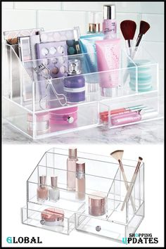 Cosmetic Palette Organizer with Drawer for Vanity or Cabinet to Hold Makeup, Beauty Products, Hair Accessories. Palette Organizer, Beauty Uk, Countertops, Beauty Products, Drawers, Vanity, Hair Accessories, Organization, Cosmetics
