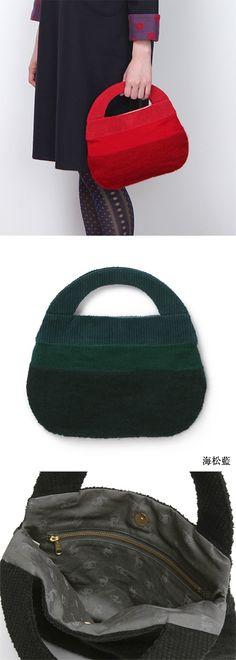 【バッグ小 ひといろ(中川政七商店)】/遊 中川オリジナルの色で染めた、コーデュロイとニットを合わせたバッグ。山羊の毛であるモヘヤとウールアクリルの糸を、ホールガーメントという立体的に編む機械を使って丸く編むことで、コロンとした特徴的なデザインに仕上げました。こちらはちょっとしたお出掛けに最適な小さいサイズです。 #bag
