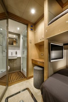 """Crew bedroom onboard the incredible private superyacht """"Zenith"""". Designed by ID Studios Pyrmont"""