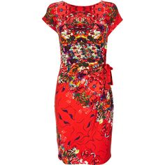 Red Side Tie Floral Dress ($59) ❤ liked on Polyvore