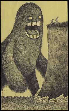Drawn On Post-It Notes | Love how John Kenn's itty bitty pen strokes mark visual differences between waves, grass, fur and cliff face though all strokes are monochromatic and statically similar. Very enviable collection invoking Sendak and Gorey.