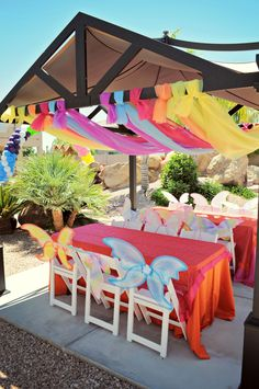 Love the colors we can totally do this we can borrow tables and a shade cover ;) this is totally possible lol