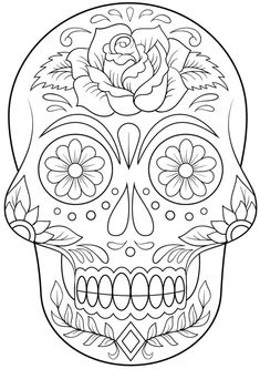 Sugar Skull with Flowers Coloring page from Day of the Dead category. Select from 20883 printable crafts of cartoons, nature, animals, Bible and many more. Sugar Skull with Flowers Coloring page from Day of the Dead category. Skull Coloring Pages, Halloween Coloring Pages, Flower Coloring Pages, Coloring Book Pages, Coloring Sheets, Adult Coloring, Mandala Coloring, Simple Coloring Pages, Skull Template