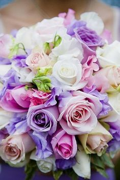 pretty pink and lavender roses: