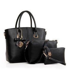 3 PCS Women Elegant Casual PU Leather Handbag Leisure Crossbody Bag
