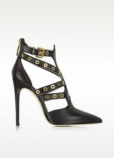Loriblu+Black+Leather+Gromet+Sandal