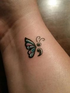 Semicolon tattoo designs are a symbol of silent fight. Find lots of semicolon tattoo ideas and the meaning behind it of Amy Bleuel and the Semicolon tattoo project. Love the butterfly semicolon tattoos. Butterfly Tattoo Cover Up, Butterfly Tattoo Meaning, Butterfly Tattoo On Shoulder, Butterfly Tattoos For Women, Butterfly Tattoo Designs, Shoulder Tattoos, Butterfly Wings, Shoulder Sleeve, Trendy Tattoos