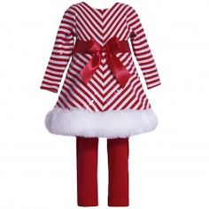 This cute 2 piece set from Bonnie Jean is sure to keep your baby girl warm and cozy. The Santa dress features red white mitered stripe and a ribbon bow at waist, faux fur trim at hemline. It makes a beautiful, stylish dress that is sure to spread joy this Baby Girl Holiday Dresses, Girls Christmas Dresses, Cute Baby Girl Outfits, Cute Baby Clothes, Baby Girl Dresses, Baby Girls, Christmas Outfits, Christmas Girls, Santa Christmas