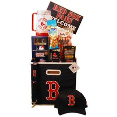 You are sure to score a Home Run with our Boston Red Sox Deluxe Gift Basket - $149.99.  The prefect gift to send to that special Boston Red Sox fan. Need a gift for Fathers Day or to say -  Thanks you are a great part of the team or for a birthday gift to your favorite sports fan?