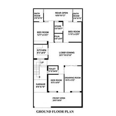 House Plan for 25 Feet by 52 Feet plot (Plot Size 144 Square Yards ...