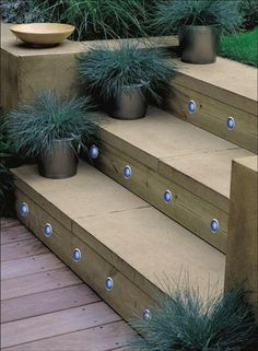 LED Color Changing Step Light Kit: Turn your backyard into something festive and chic at the same time. From Pegasus Lighting.