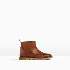 LEATHER BROGUE ANKLE BOOTS-View all-SHOES-GIRL | 4-14 years-KIDS | ZARA United States