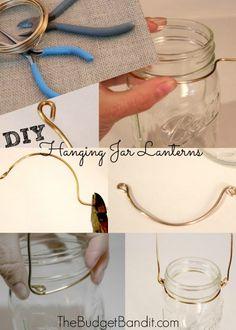 DIY Shabby Chic Hanging Mason Jar Lanterns - Living Chic Mom