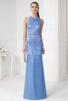 $125.79-Pretty Sheath High Neck Sleeveless Beaded Satin Long Blue Lace Prom Dress. http://www.ucenterdress.com/sheath-floor-length-high-neck-sleeveless-beaded-satin-prom-dress-pMK_300802.html.  Shop for cheap prom dresses, party dresses, night dresses, maxi dresses, little black dresses, junior prom dresses, girls prom dresses, designer prom dresses for sale. We have great 2016 prom dresses on sale. Buy prom dresses online at UcenterDress.com #prom #dress today!