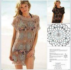 Ivelise Hand Made: Beach coverup Crochet Vest Pattern, Crochet Tunic, Crochet Clothes, Crochet Lace, Crochet Bikini, Crochet Bathing Suits, Lace Swimsuit, Crochet Girls, Beautiful Crochet