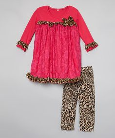 Loving this Pink Cheetah Lace Top & Pants - Toddler & Girls on #zulily! #zulilyfinds