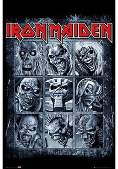 """An awesome Iron Maiden band poster - nine shots of """"Eddie"""" from the band's classic album covers! Check out the rest of our great selection of Iron Maiden posters! Need Poster Mounts. Pop Rock, Rock And Roll, Heavy Metal Rock, Heavy Metal Music, Heavy Metal Bands, Black Metal, Iron Maiden Band, Eddie Iron Maiden, Pink Floyd"""