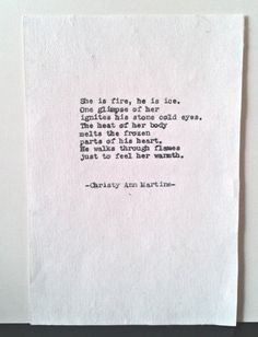 Love Poetry She Is Fire Poem Romantic Gift typed onto cotton paper by Christy Ann Martine $10.00 on Etsy