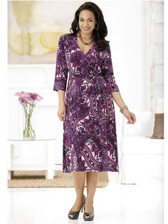 How beautiful is this Purple Majesty Faux Wrap Knit Dress by Ulla Popken, available at Sonsi?