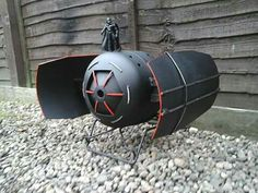 Darth-Vader Showing Off His Imperial Tie-Fighter Fire-pit Wood Burner, By Barry Wood @ https://m.facebook.com/LogWoodBurners