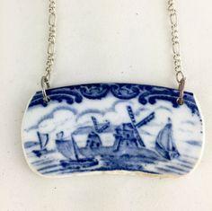 Broken China jewelry- blue and white