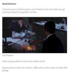 When everyone finds out FitzSimmons finally kissed they all have to watch the security footage on Coulson's wall.  Headcanon accepted.  MCU