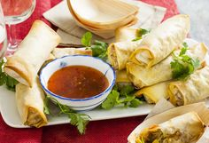 These low-fat spring rolls are baked not fried! Full of carrot, zucchini, Chinese cabbage, corn and vermicelli noodles, they're a tasty vegetarian party option.