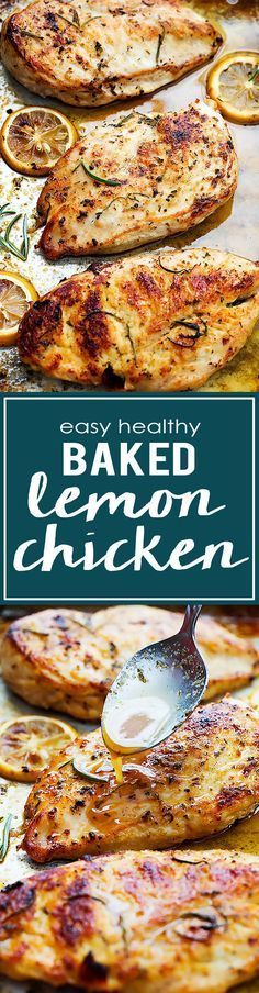 Easy healthy baked lemon chicken that is loaded with yummy flavor and you can ma. - Winner Winner Chicken Dinner - Easy healthy baked lemon chicken that is loaded with yummy flavor and you can make in a hurry with j - Clean Eating Recipes, Cooking Recipes, Diet Recipes, Clean Eating Chicken, Clean Eating Dinner, Top Recipes, Recipes Dinner, Cooking Ideas, Cooking Time