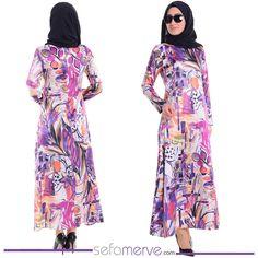 Dijital Baskılı Saten Elbise 4004-03 Fuşya #sefamerve #tesetturgiyim #tesettur #hijab #tesettür