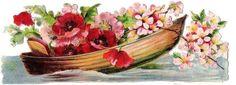 Glanzbilder - Victorian Die Cut - Victorian Scrap - Tube Victorienne - Glansbilleder - Plaatjes : Blumenboote