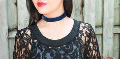Dark Blue Velvet Choker Necklace Handmade