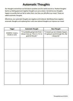 CBT Worksheets! Automatic Thoughts Preview. Good for negative self talk and filtering.
