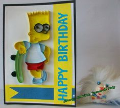 Bart Simpson Birthday Quilled card Simpson Quilled card for