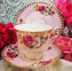 Tea cup, saucer and bread plate, pretty pin with red roses