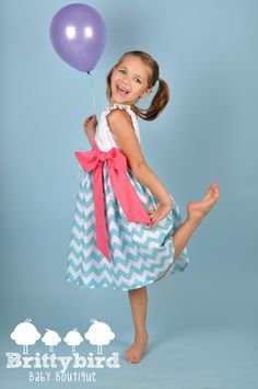 Girls Aqua Chevron Dress with Flutter Sleeves and by Brittybird, $40.00 #rileyblakedesigns #chevron
