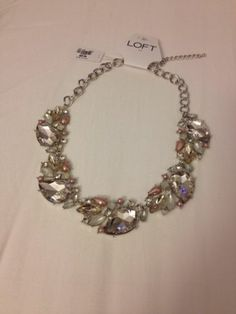 Pretty Ann Taylor Loft Clear Stone Flower with Pink and White Stones Necklace   eBay