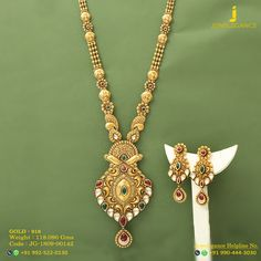 Gold 916 Premium Design Get in touch with us on Gold Wedding Jewelry, Gold Jewelry, Gold Necklace, Gold Mangalsutra, Jewellery Sketches, Long Necklaces, Jewelry Website, Henna Mehndi, Neck Piece