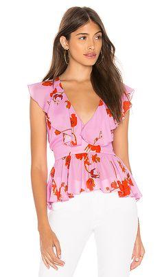 dcc1b5b061716 Cynthia Rowley Malibu Ruffle Top in Pink Poppy Top Clothing Stores