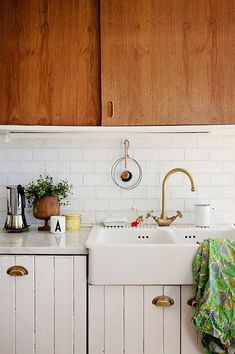 dream house: those dreamy brass fixtures, cabinets, sink, faucet, love love love