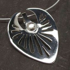 Silver Leaf Pendant by LapwingDesigns on Etsy