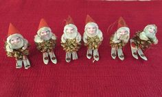 "6 Vintage Pixie Elf Pinecone Christmas Ornament Gnome on Skis 3"" Pine Cone Elves"