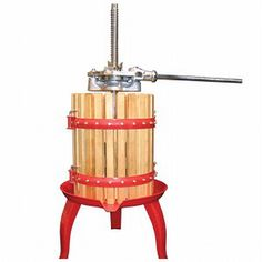 The old-fashioned way to create juices is available at home with this traditional fruit and wine press from Weston. Make your own fresh, healthy fruit juice with this press made of heavy-duty cast iron with a hardwood press and enameled steel base.