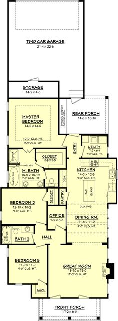 Willow Brook House Plan This beautiful traditional narrow lot design is loaded with features. It offers 3 oversized bedrooms, 2 bathrooms, a large great room with fireplace, and open dining/kitchen concept. Cottage Style House Plans, Cottage Style Homes, Cottage Design, Small House Plans, House Design, The Plan, How To Plan, Plan Plan, Kitchen Floor Plans