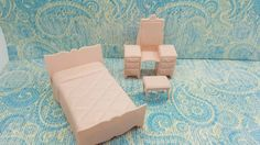 Marx Pink Bedroom Vanity bed Vanity stool Traditional Bed Dollhouse Toy Furniture Soft Plastic