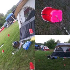 DIY Camping Safety. Mark your invisible tent ties with red Solo cups. No more getting clotheslined by your tent. #cut cup from the center of the bottom all the way up one side and slip over the tie.