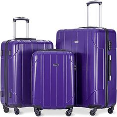 Merax 3 Piece P.T Luggage Set Eco-friendly Light Weight Travel Suitcase (Purple) Best Luggage, Luggage Sets, Light Luggage, Travel Specials, Spinner Suitcase, Travel Deals, Color Splash, 3 Piece, Eco Friendly
