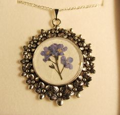 Pressed Flower Necklace Pendant by LittleSilverFingers on Etsy