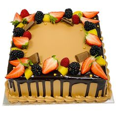 Fruit cakes have been the recent favorite for all occasions. Make your loved one's feel special with our range of Cakes. Square Cake Design, Square Cakes, Fresh Fruit Cake, Fruit Cakes, Square Birthday Cake, Order Birthday Cake Online, Egg Free Cakes, Rectangle Cake, Drop Cake