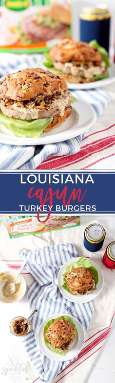 Fire up the grill and serve Louisiana Cajun Turkey Burgers with Étouffée Relish and Creamy Cajun Sauce! These burgers will be a summertime hit! #ad #SwitchCircle #JennieO